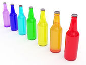Line of colored beer bottles — Stock Photo