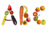 Letters ABC from fruits and vegetables — Stock Photo