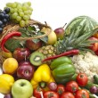Stock Photo: Group of vegetables and fruits in bascet