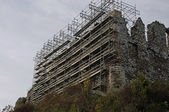 Castle ruins during renovation — Stock Photo