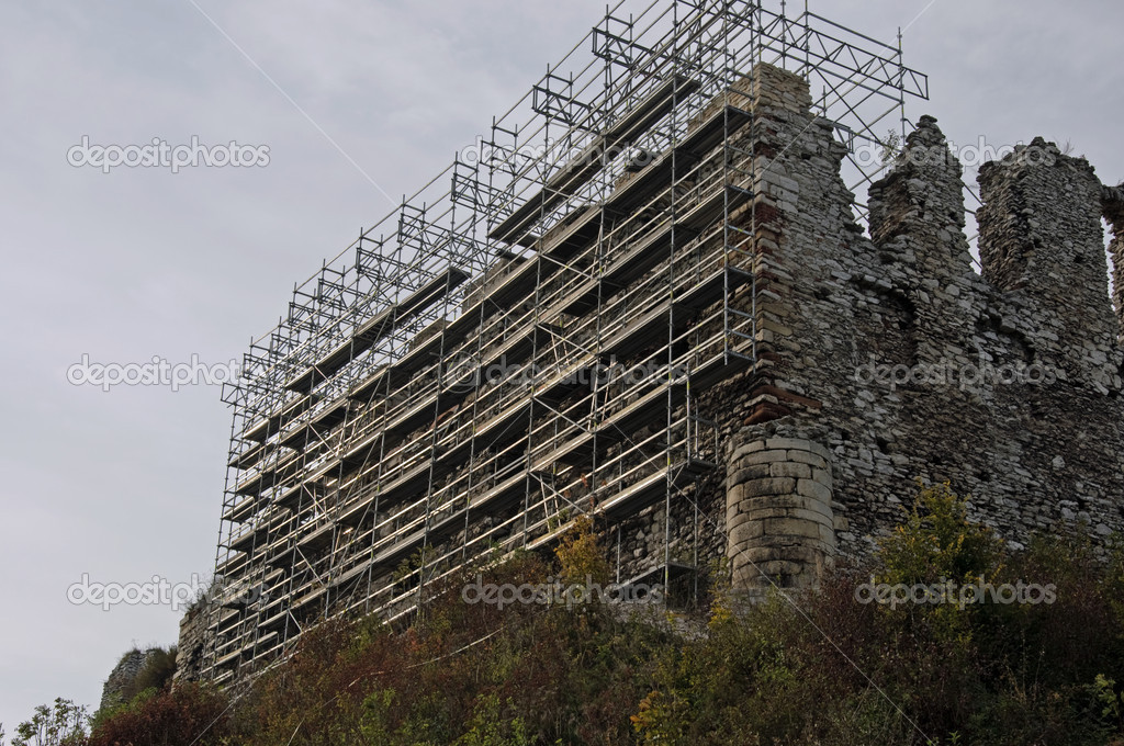 Photo of castle ruins during renovation  Stock Photo #5469030