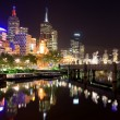 Melbourne City at night, Australia - Stock Photo