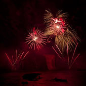 Fireworks over Montmorency Falls. Quebec International Fireworks — Stock Photo