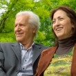 Middle-aged happy couple in a park — Stock Photo #5530934
