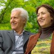 Middle-aged happy couple in a park — Стоковое фото