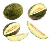 Green melon cut in different shapes — Stock Photo