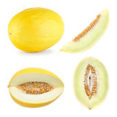 Honeydew melon cut in 4 different shapes — Stock Photo
