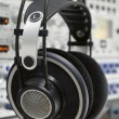 Professional headphones in a recording studio — Stock Photo