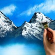 Landscape painting being created — Stockfoto