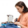 Seamstress during work, isolated — Stock Photo