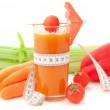 Vegetable cocktail with tape measure — Stock Photo