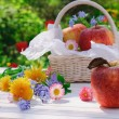 Red apples in basket with flowers in the garden - Stock Photo
