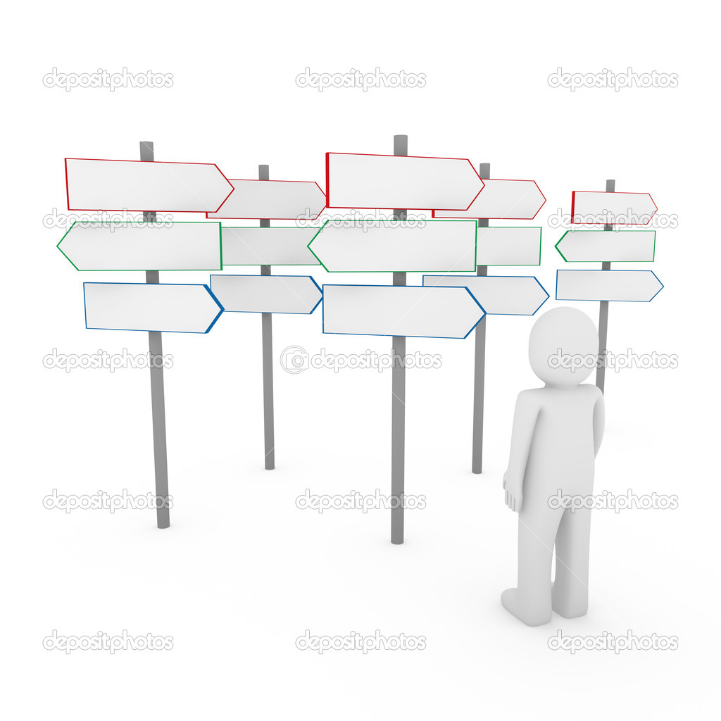 3d human man way sign red blue arrow — Foto de Stock   #5458463