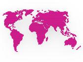 World map pink purple — Stock Photo