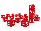 3d satış küp kırmızı — Stockfoto