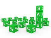 3d sale cube green — Stock Photo