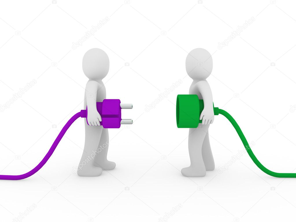 3d men human plug purple green cable energy — Stock Photo #5659923