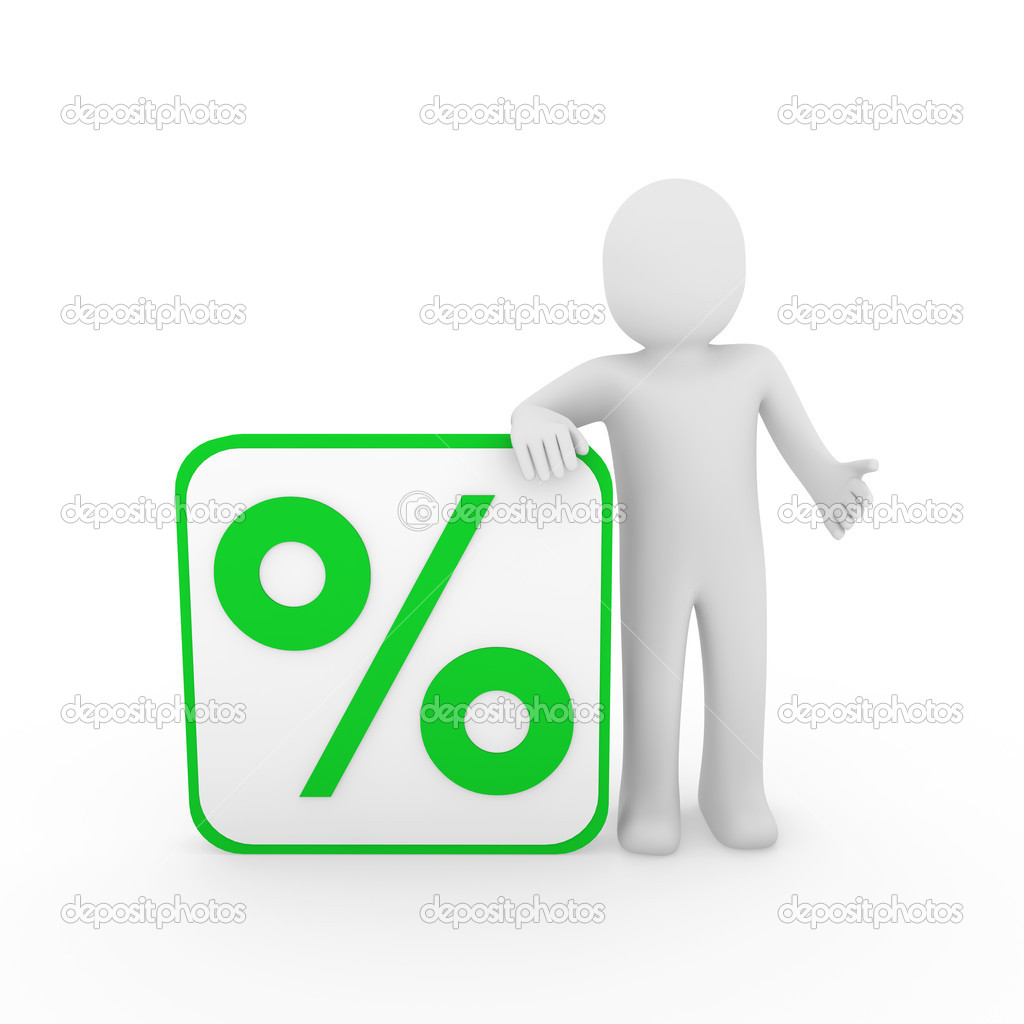3d man human sale percentage green cube sell — Stock Photo #5664641