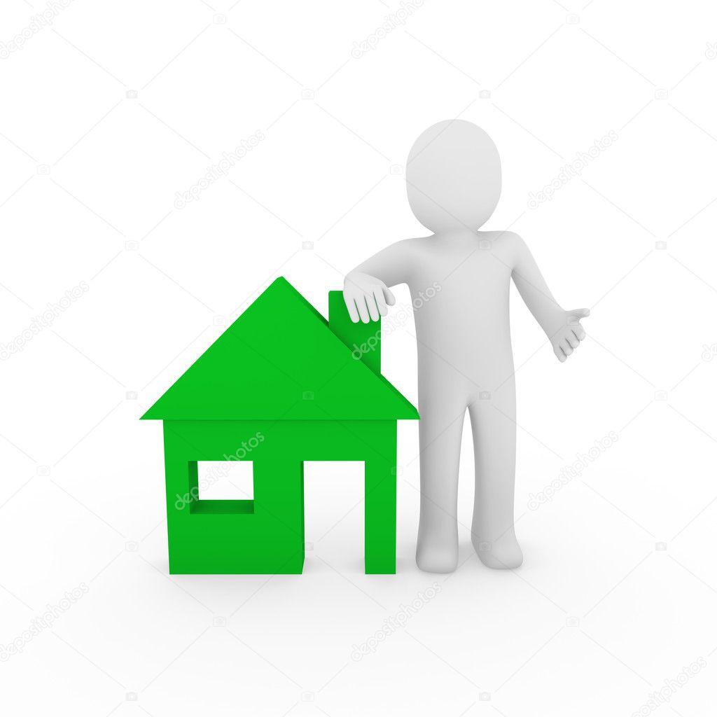 3d 男人房子绿色