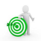3d man target green — Stock Photo
