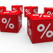 3d red sale cube percentage — Stock Photo