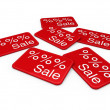Stock Photo: 3d sale card red