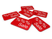 3d sale card red — Stockfoto