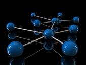 3d chrome blue network — Stock Photo