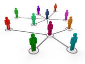3d network team color — Stock Photo
