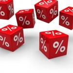 3d sale cube fall — Stock Photo