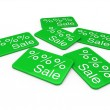 3d sale card green — Stock Photo