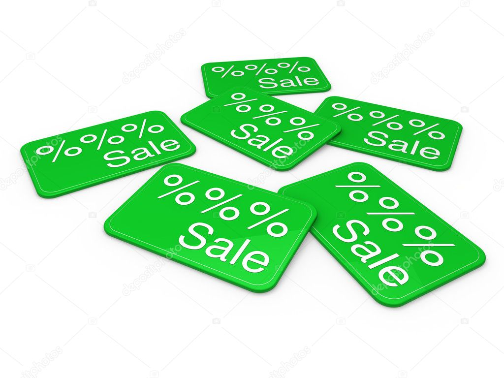 3d sale card green promotion percentage retail — Stock fotografie #6446910
