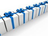 3d blue gift box — Stock Photo