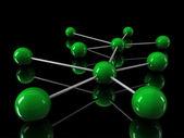 3d chrome green network — Stock Photo