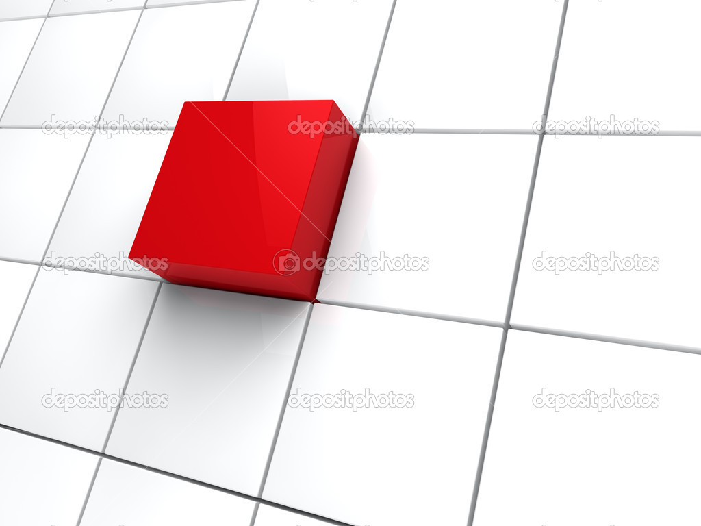 3d cube red white area square abstract — Stock Photo #6463370