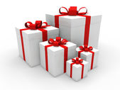 3d red gift box christmas — Stockfoto
