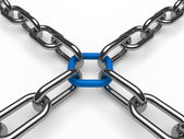 3d chain chrome blue — Stock Photo