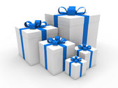 3d blue gift box christmas — Stock Photo