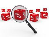 3d sprzedaż kostki czerwone soczewki powiększające — Zdjęcie stockowe