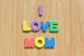 "Colorful letters with ""I love mom"" — Stock Photo"