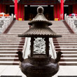Bronze Incense Burner in chinese temple Thailand - Foto Stock