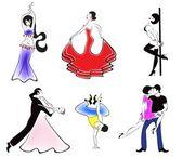 Иллюстрация шести основных танцевальных направлений — Stock Vector