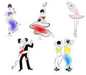Иллюстрация пяти танцевальных стилей: индийский танец, цыганский танец, бал — Stock Vector