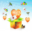 Valentine's box with big heart — Stock Vector