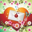 Envelope with hearts - Stock vektor