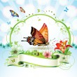 Butterfly with flowers - Stock Vector