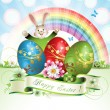 Easter card with bunny - Stock Vector