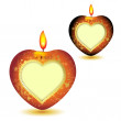Two elegant red candles with heart shape — Stock Vector #5406362
