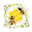 Stock Vector: Bees with flowers