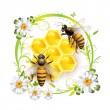 pszczoły z kwiatami — Wektor stockowy
